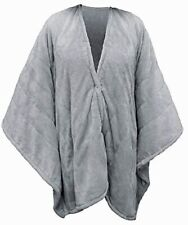 Serta Fleece Electric Heated Warming Snuggler Cape Wrap Gray