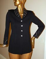 New St John Evening sz 4 Black Knit Studded Jeweled Paillette Blazer Jacket USA