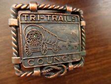"True Vtg BSA Boy Scout Tri-Trails Council Belt Buckle 2x2"" for 1.25"" wide"