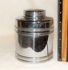 """Vintage Retro Chrome Storage Jar with Lid Approx. 5 ½"""" tall with lid"""
