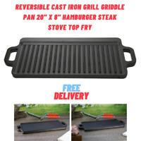 "Reversible Cast Iron Grill Griddle Pan 20"" x 8"" Hamburger Steak Stove Top Fry"