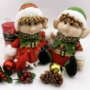 Sitting Elf With Bell Christmas Toy Red Knit Boy Girl Decoration
