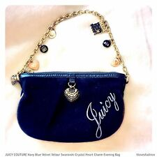 💙JUICY COUTURE Navy Blue Swarovski Crystal Charm Heart Small Evening Handbag💙✨