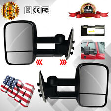 Towing Mirror Manual Textured Black Pair Set Fit 99-07 Chevy GMC Pickup