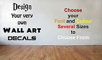 Personalised Wall Sticker Custom Vinyl Decal Design your Own Wall Art Quote