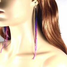 NEW PINK HANDCRAFTED BEADED EXTRA LONG FASHION HOOK EARRINGS E58/1 NICKLE FREE