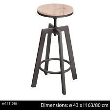 TABOURET CHAISE BAR DESIGN RÉGLABLE LOFT INDUSTRIEL CONTEMPORAIN BOIS METAL 889