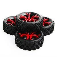 4PCS 1:10 RC Rubber Rally Tires&Wheel&12mm Hex F Flat Drift Slicks Off Road Car