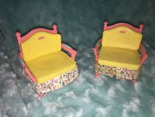2 Fisher Price Loving Family Dollhouse Arm Chair w/ Fabric Ruffle PEACH COLOR