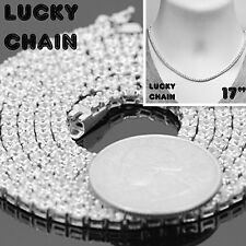 """925 STERLING SILVER ICED OUT TENNIS CHOKER CHAIN NECKLACE 17""""x3mm 22g C88"""