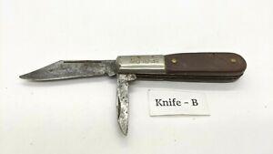 Vintage Barlow Imperial Ireland 2 Blade Folding Pocket Knife Sawcut Delrin/Wood