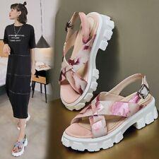 Womens Ladies Fashion Leather Printed Slingback Platform Beach Sandals Shoes BGH