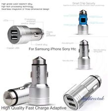 FAST CHARGE TWIN 2 PORT USB 12V DUAL CAR CHARGER CIGARETTE SOCKET LIGHTER SILVER
