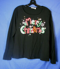 KIM ROGERS Long-Sleeve SHIRT/TOP Beaded/Sparkle MERRY CHRISTMAS sz XL