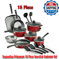 Tramontina Primaware 18 Piece Non-stick Cookware Set, Red, Dishwasher-Safe, Pans