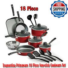 Tramontina Primaware 18 Piece Non-stick Cookware Set, Red, Dishwasher-Safe, Pans