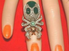 9ct Gold Large BEETLE Bug Ring with Diamonds & Emerald  & Green Agate Ruby eyes