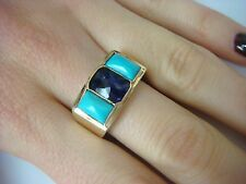 UNUSUAL 14K YELLOW GOLD RING WITH AMETHYST AND TURQUOSE, MADE IN GERMANY