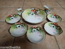 ANTIQUE  MEITO CHINA JAPAN HAND PAINTED PORCELAIN   8 PC BERRY SET