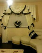 Designer Curtains Swags & Tails Cream &Black
