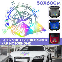 60x50cm Laser Sticker Navigation Kompass W / Mountains Für Wohnmobil