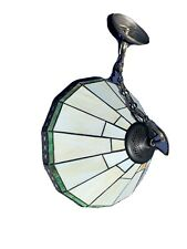Tiffany Style Stained Glass Flush Mount Ceiling Lamp Shade w/ Chain, Wired