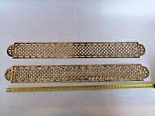Antique Pair Of Larges French Vintage Gilded Brass Door Push Plates
