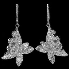 Sterling Silver 925 Large Bright White Lab Created Diamond Butterfly Earrings