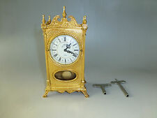 EXC ANTIQUE GERMAN GOLD GILT CASE MECHANICAL CARRIAGE SWING PENDULUM 8 DAY CLOCK