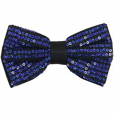New in box Men's Pre tied bow tie Only Polyester Sequins Royal Blue formal party