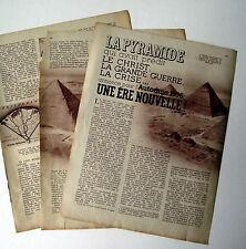 Article Predictions des pyramides Egypte,Keops,Khephren, 1936