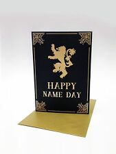 A6 Game Of Thrones Birthday card, Name Day, Lannister lion sigil, GRR Martin