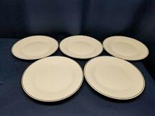 """Gibson Elite Designs """"STUDIO PLATINUM"""" Set/5  Dinner Plates White with Platinum"""