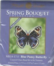 Blue Pansy Butterfly Mill Hill Bead Cross Stitch Kit