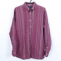 TOMMY HILFIGER Vintage Mens Red Burgundy Striped Long Sleeve Shirt SIZE Medium