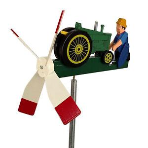 Green Tractor Whirligig Wind Spinner Handmade in USA