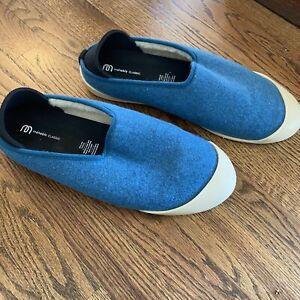 Mahabis Mens Covertible Detachable Snap Slippers Cream  / Blue EU 46 12-13 Clogs