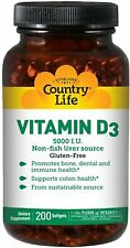 Vitamin D3, Country Life, 200 gelcap 5000 IU