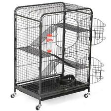37 Inch Small Animal Steel Cage Anti Rust With Feeder And Water Bottle Black New