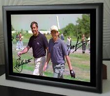 "Lienzo Enmarcado Golf Seve & Sergio homenaje impresión firmada ""Gran Regalo O Recuerdo"""