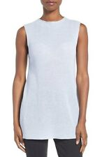 NWT Eileen Fisher India Sky Blue Merino Tencel Sleeveless Knit Mock Neck Top L
