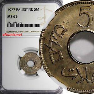 Palestine British Mandate Copper-Nickel 1927 5 Mils NGC MS63 1st YEAR TYPE KM# 3