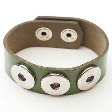 NEU Lederarmband grün DRUCKKNOPF ARMBAND Echt Leder HERREN Button Bracelet