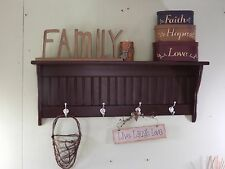 "Wall Hanging Coat Rack Wood Wall Shelf 36"" Espresso with Hooks"