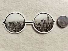 City In Glasses Sticker vinyl for skateboards/car/water bottle decal