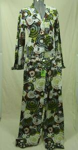 NWT Vera Bradley Cotton Pajamas Set Cocoa Moss Small Shirt Pants Green Brown