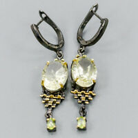 Lemon Quartz Earrings Silver 925 Sterling Handmade  /E38092