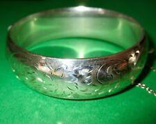 Birks Sterling Silver Wide Hinge Bangle Bracelet ca 1950s Hallmarked
