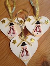 3 X Snowman Handmade Christmas Decorations Real Wood Heart And Embellishment