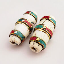 Turquoise Coral Conch Shell Brass 2 Beads Tibetan Nepalese Handmade Nepal UB2485